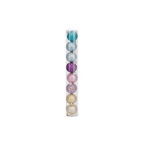Bolas em Tubo Rainbow Glitter 04cm - 08 unidades - Cromus Natal - Rizzo Embalagens