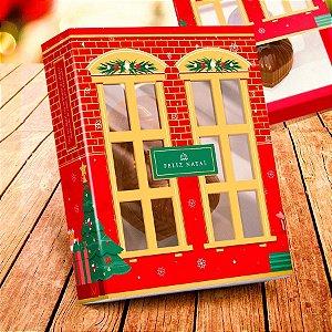 Caixa para 20 Doces com Visor Linha Sweet Home Natal - 01 unidade - Rizzo Embalagens