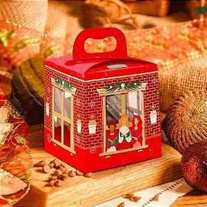 Caixa para Mini Panetone com Visor Linha Sweet Home Natal - 01 unidade - Rizzo Embalagens