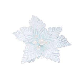 Enfeite de Natal Poinséttia - Azul Claro - 1 Unidade - Cromus - Rizzo Embalagens