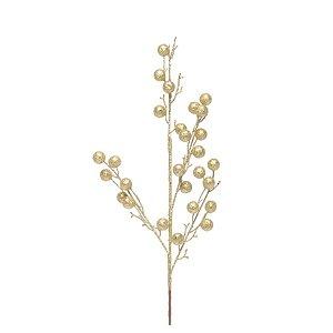 Galho de Frutas Com Glitter - Dourado - 1 Unidade - Cromus - Rizzo Embalagens