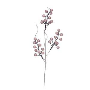 Galho de Frutas Peroladas Rosa - 1 Unidade - Cromus - Rizzo Embalagens