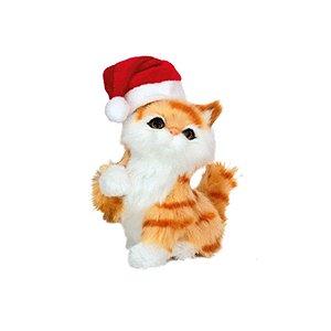 Gatinho Decoração com Gorro Noel - 01 unidade - Cromus Natal - Rizzo Embalagens