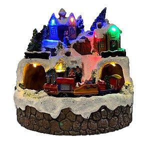 Enfeite de Natal Cerâmica Luminoso Musical 19x19cm - 1 Unidade - Rizzo Embalagens