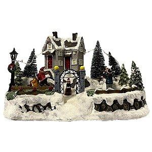 Enfeite de Natal Cerâmica Luminoso Musical 19x30cm - 1 Unidade - Rizzo Embalagens