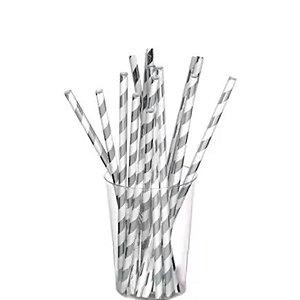 Canudo de Papel Nacarado Prateado Listra 20cm 20 Unidades Rizzo Embalagens