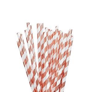 Canudo de Papel Nacarado Cobre com Listra 20cm 20 Unidades Rizzo Embalagens