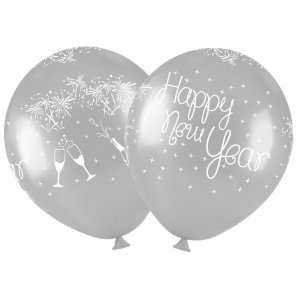"Balão de Festa Redondo Profissional Látex Decorado 11"" 28cm - Happy New Year - 25 Unidades - Art-Latex - Rizzo"