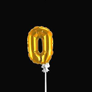 Topo de Bolo Numero Metalizado Dourado Partiufesta 01 unidade Rizzo Embalagens