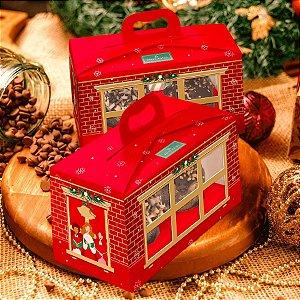 Caixa para 2 Mini Panetone com Visor Linha Sweet Home Natal - 01 unidade - Rizzo Embalagens