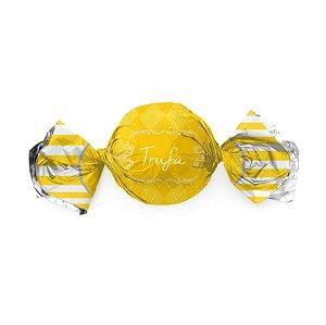 Papel Trufa 14,5x15,5cm - Vichy Amarelo - 100 unidades - Cromus - Rizzo Embalagens