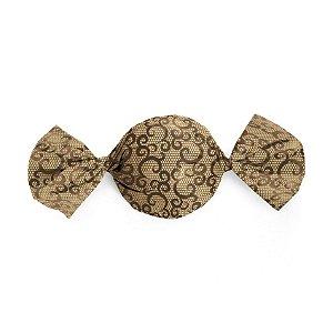 Papel Trufa 15x16cm - Renda Marrom_Ouro - 100 unidades - Cromus - Rizzo Embalagens