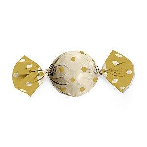 Papel Trufa 15x16cm - Marfim Poa Ouro - 100 unidades - Cromus - Rizzo Embalagens