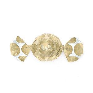 Papel Trufa 15x16cm - Gran Poa Dourado - 100 unidades - Cromus - Rizzo Embalagens