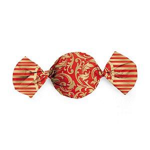 Papel Trufa 15x16cm - Arabesco Ouro_Vermelho - 100 unidades - Cromus - Rizzo Embalagens