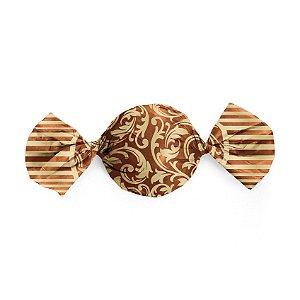 Papel Trufa 15x16cm - Arabesco Ouro_Marrom - 100 unidades - Cromus - Rizzo Embalagens