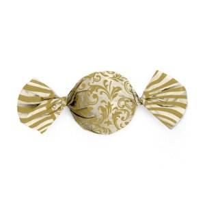 Papel Trufa 15x16cm - Arabesco Ouro_Marfim - 100 unidades - Cromus - Rizzo Embalagens
