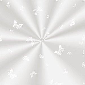 Saco Decorado Borboleta Branca - 10x14cm - 100 unidades - Cromus - Rizzo Embalagens