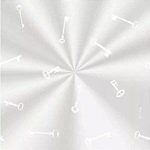 Saco Decorado Chavinha Branca - 15x29cm - 100 unidades - Cromus - Rizzo Embalagens