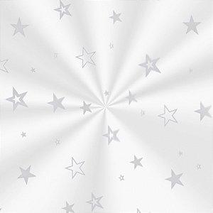 Saco Decorado Estrela Prata - 30x44cm - 100 unidades - Cromus - Rizzo Embalagens