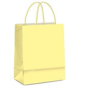 Sacola de Papel P 21,5x15x8cm - Amarelo Bebê - 10 unidades - Cromus - Rizzo Embalagens