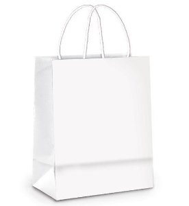 Sacola de Papel M 26x19,5x9,5cm - Branco - 10 unidades - Cromus - Rizzo Embalagens