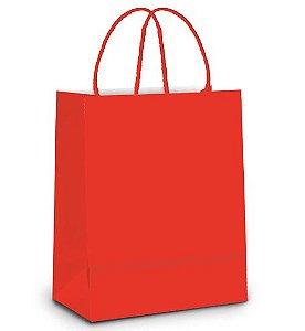 Sacola de Papel M 26x19,5x9,5cm - Vermelho - 10 unidades - Cromus - Rizzo Embalagens