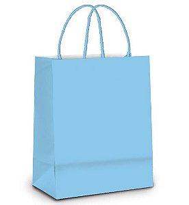 Sacola de Papel M 26x19,5x9,5cm - Azul Bebê- 10 unidades - Cromus - Rizzo Embalagens