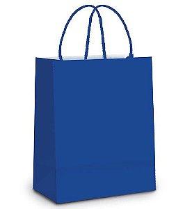 Sacola de Papel M 26x19,5x9,5cm - Azul Royal - 10 unidades - Cromus - Rizzo Embalagens