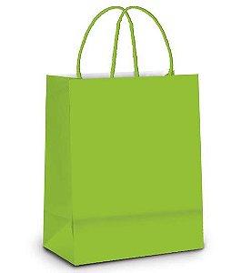 Sacola de Papel M Verde - 26x19,5x9,5cm - 10 unidades - Cromus - Rizzo Embalagens