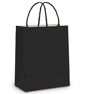 Sacola de Papel M 26x19,5x9,5cm - Preto - 10 unidades - Cromus - Rizzo Embalagens