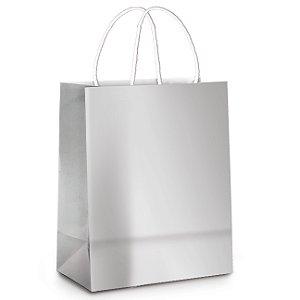 Sacola de Papel M Prata Metalizado - 26x19,5x9,5cm - 10 unidades - Cromus - Rizzo Embalagens