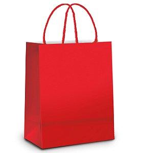 Sacola de Papel M 26x19,5x9,5cm - Vermelho Metalizado Fosco - 10 unidades - Cromus - Rizzo Embalagens