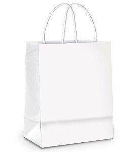 Sacola de Papel Branco - GG 39x32x16cm - 50 unidades - Cromus - Rizzo Embalagens