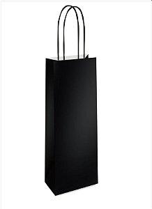 Sacola de Papel Garrafa 35x13x8cm - Preto - 10 unidades - Cromus - Rizzo Embalagens