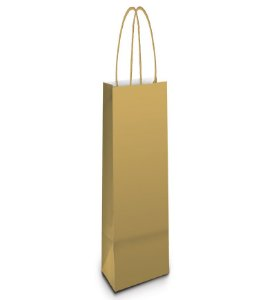 Sacola de Papel Garrafa 35x13x8cm - Ouro - 10 unidades - Cromus - Rizzo Embalagens