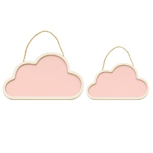 Conjunto Nuvens De Madeira Rosa - Cromus - Rizzo Festas