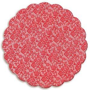 Fundo Rendado Redondo Vermelho 7cm - 100 unidades - Cromus - Rizzo Embalagens
