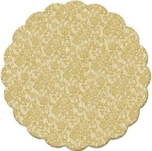 Fundo Rendado Redondo Ouro 7cm - 100 unidades - Cromus - Rizzo Embalagens