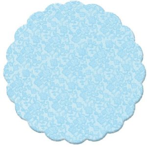 Fundo Rendado Redondo Azul Claro 9cm - 100 unidades - Cromus - Rizzo Embalagens
