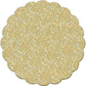 Fundo Rendado Redondo Ouro 9cm - 100 unidades - Cromus - Rizzo Embalagens