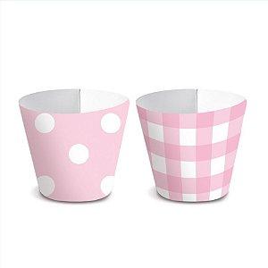 Forminha Wrap p Mini Cupcake Festa Chá Revelação - Rosa - 36 unidades - Cromus - Rizzo Festas