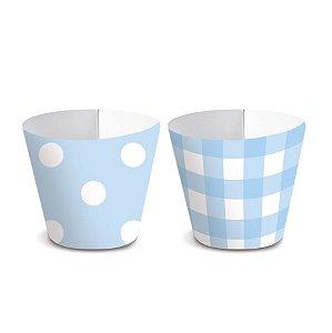Forminha Wrap p Mini Cupcake Festa Chá Revelação - Azul - 36 unidades - Cromus - Rizzo Festas