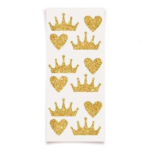 Adesivo com Glitter Festa Reinado da Princesa - 12 unidades - Cromus - Rizzo Festas