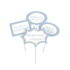 Plaquinhas Divertidas Reinado do Príncipe Sortido - 8 unidades - Cromus - Rizzo Festas