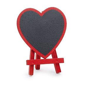 Lousa para Personalizar Mini Cavalete Coração Vermelho - 03 unidades - Cromus - Rizzo Festas