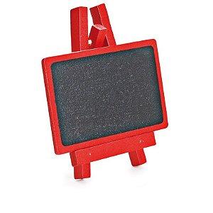 Lousa para Personalizar Mini Cavalete Retangular Vermelho - 03 unidades - Cromus - Rizzo Festas