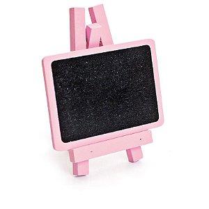 Lousa para Personalizar Mini Cavalete Retangular Rosa Claro- 03 unidades - Cromus - Rizzo Festas