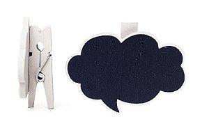 Lousa para Personalizar Prendedor Balão de Pensamento Branco - 06 unidades - Cromus - Rizzo Festas