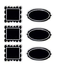 Lousa para Personalizar Adesiva Borda Preto e Branco - 06 unidades - Cromus - Rizzo Festas